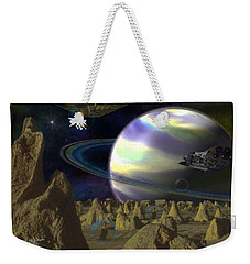 Weekender Tote Bag featuring the digital art Alien Repose by Vincent Autenrieb