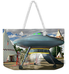 Alien Vacation - Gasoline Stop Weekender Tote Bag by Mike McGlothlen