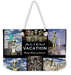 Alien Vacation - Poster Weekender Tote Bag by Mike McGlothlen
