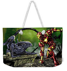 Alien Vs Iron Man Weekender Tote Bag