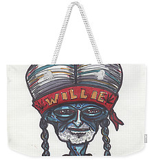 Weekender Tote Bag featuring the drawing alien Willie Nelson by Similar Alien