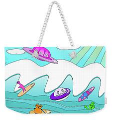Aliens Go Surfing  Weekender Tote Bag