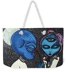 Aliens Love Flowers Weekender Tote Bag by Similar Alien