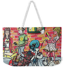 Weekender Tote Bag featuring the painting Aliens Love Dogs by Similar Alien