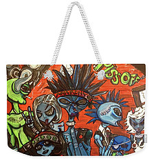 Weekender Tote Bag featuring the painting Aliens With Nefarious Intent by Similar Alien