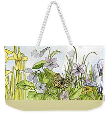 Weekender Tote Bag featuring the painting  Alive In A Spring Garden by Laurie Rohner