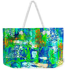 Weekender Tote Bag featuring the mixed media All A Whirl by Julie Hoyle