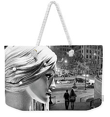 Weekender Tote Bag featuring the photograph All Dressed Up And No Place To Go - B W by Chuck Staley