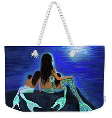 Weekender Tote Bag featuring the painting All My Adorable Girls by Leslie Allen