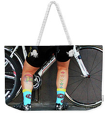 Weekender Tote Bag featuring the photograph All Star Cyclist by Joe Jake Pratt
