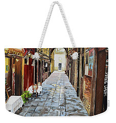 Weekender Tote Bag featuring the painting Alley On Parangon In Venice by Jan Dappen
