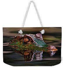 Alligator Above Water Reflection Weekender Tote Bag