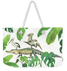 Alligator And Pelicans Weekender Tote Bag by Juan Bosco