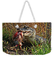 Alligator Eating A Fish Weekender Tote Bag