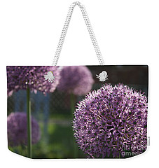 Weekender Tote Bag featuring the photograph Allium by Mary-Lee Sanders
