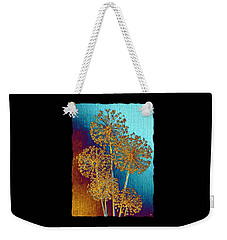 Weekender Tote Bag featuring the mixed media Alluring Allium Abstract 2 by Will Borden