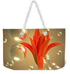 Weekender Tote Bag featuring the photograph Almost A Blossom In Bubbles by Joyce Dickens