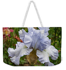 Weekender Tote Bag featuring the photograph Almost Blue Bearded Iris by Jean Noren