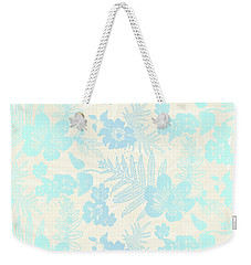 Aloha Damask Cream Aqua Weekender Tote Bag