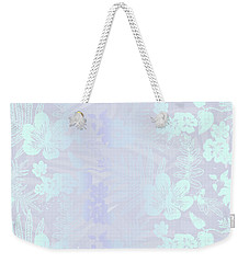 Aloha Damask Gray Aqua Weekender Tote Bag