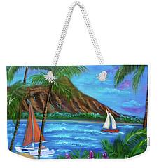 Aloha Diamond Head Weekender Tote Bag by Jenny Lee