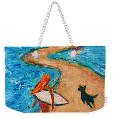 Weekender Tote Bag featuring the painting Aloha Surfer by Xueling Zou