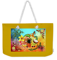 Weekender Tote Bag featuring the digital art Aloha Tropical Fruits By Kaye Menner by Kaye Menner