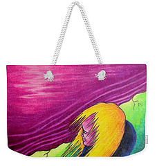 Weekender Tote Bag featuring the drawing Alone by Michael  TMAD Finney