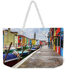 Along The Canal In Burano Island Weekender Tote Bag
