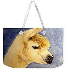 Weekender Tote Bag featuring the painting Alpaca Baby by Carol Grimes