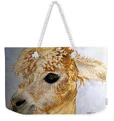 Weekender Tote Bag featuring the painting Alpaca Cutie by Carol Grimes