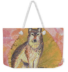 Alpha Male On Natural Leaf Weekender Tote Bag by Ralph Root