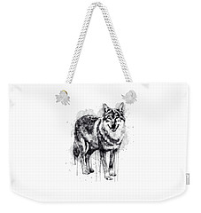 Alpha Wolf Black And White Weekender Tote Bag by Marian Voicu