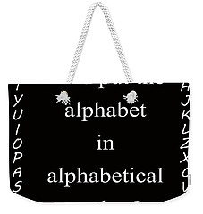 Alphabet 101 Weekender Tote Bag by George Bostian