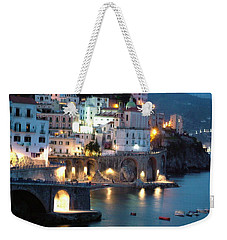 Weekender Tote Bag featuring the photograph Amalfi Coast At Night by Donna Corless
