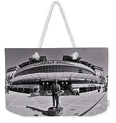 Weekender Tote Bag featuring the photograph Amalie Arena Black And White by Lisa Wooten