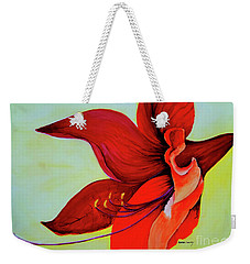 Weekender Tote Bag featuring the painting Amaryllis Blossom by Rachel Lowry