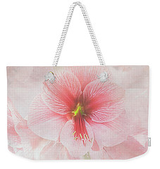 Weekender Tote Bag featuring the photograph Amaryllis 'purple Rain' II by Ann Jacobson