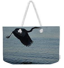 Amazing Flying Great Blue Heron Weekender Tote Bag by DejaVu Designs