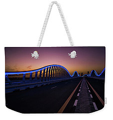 Amazing Night Dubai Vip Bridge With Beautiful Sunset. Private Ro Weekender Tote Bag
