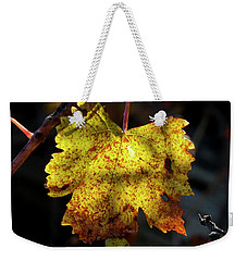 Weekender Tote Bag featuring the photograph Amber Leaf Reflections by Elaine Teague