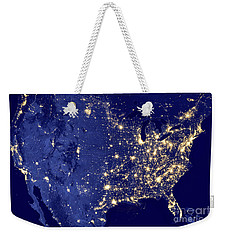Weekender Tote Bag featuring the photograph America By Night by Delphimages Photo Creations