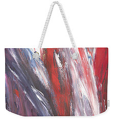 Weekender Tote Bag featuring the painting Red, White And Blue by Karen Nicholson