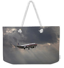 American Aircraft Landing After The Rain. Miami. Fl. Usa Weekender Tote Bag