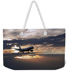American Aircraft Landing At The Twilight. Miami. Fl. Usa Weekender Tote Bag