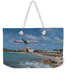 American Airlines Landing At St. Maarten Airport Weekender Tote Bag