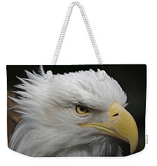 Weekender Tote Bag featuring the digital art American Bald Eagle Portrait by Ernie Echols