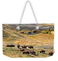 American Bison In Autumn Weekender Tote Bag