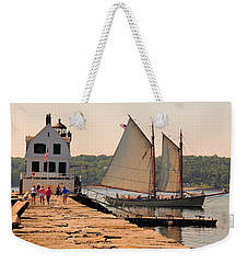 American Eagle At The Lighthouse Weekender Tote Bag