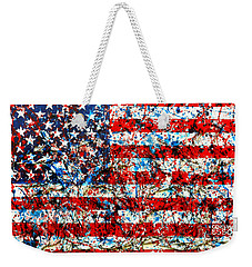 Weekender Tote Bag featuring the painting American Flag Abstract With Trees by Genevieve Esson